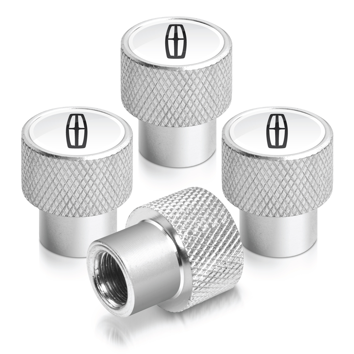 Lincoln logo in White on Shining Silver Aluminum Tire Valve Stem Caps