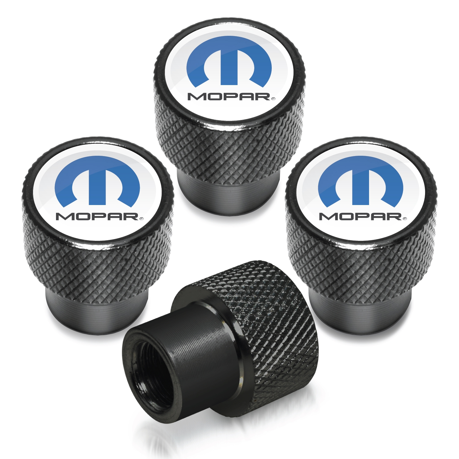 Mopar in White on Black Aluminum Tire Valve Stem Caps
