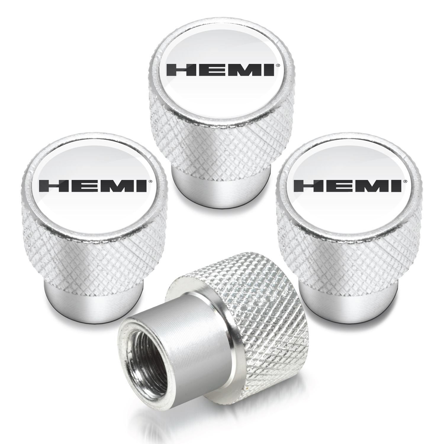 HEMI Logo in White on Shining Silver Aluminum Tire Valve Stem Caps