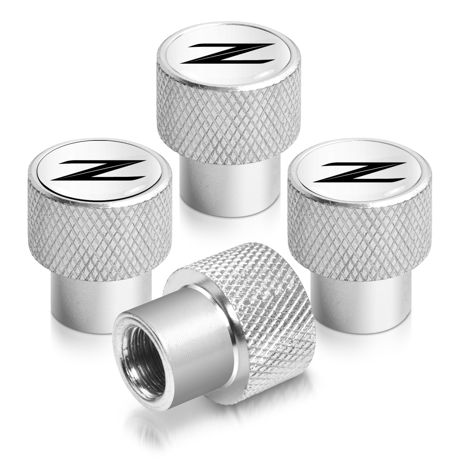 Nissan 370Z Z logo in White on Shining Silver Aluminum Tire Valve Stem Caps