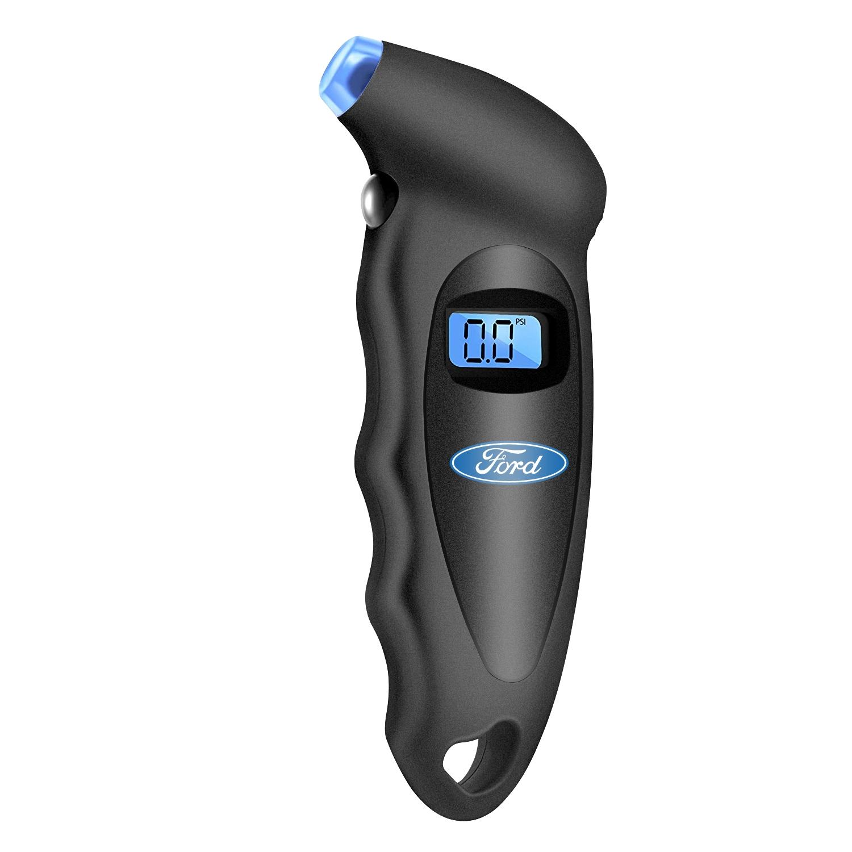 Ford Logo Black Digital Tire Pressure Gauge with LED-Backlit LCD Display