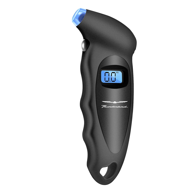 Ford Thunderbird Black Digital Tire Pressure Gauge with LED-Backlit LCD Display