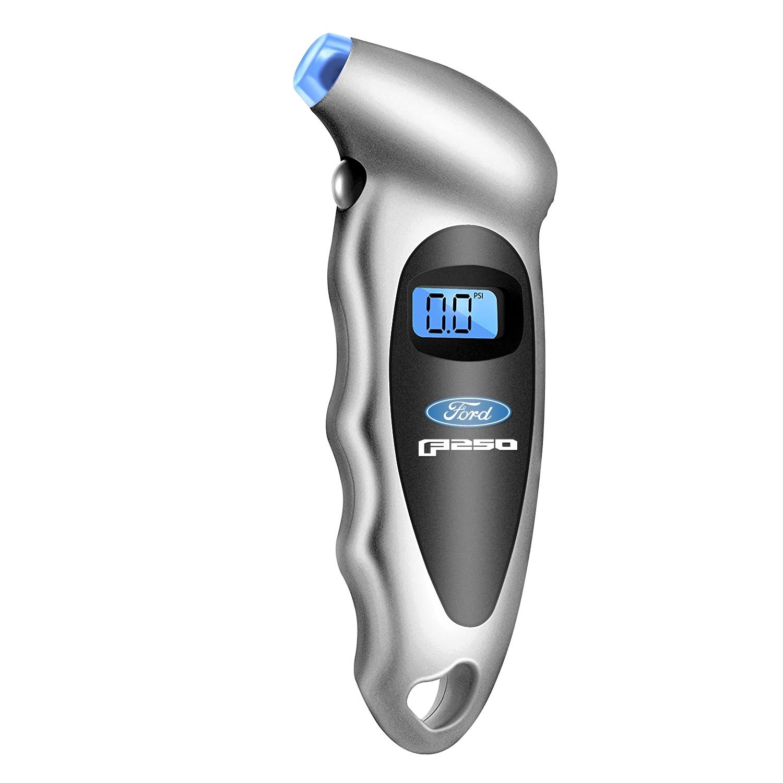 Ford F-250 Silver Black Digital Tire Pressure Gauge with LED-Backlit LCD Display