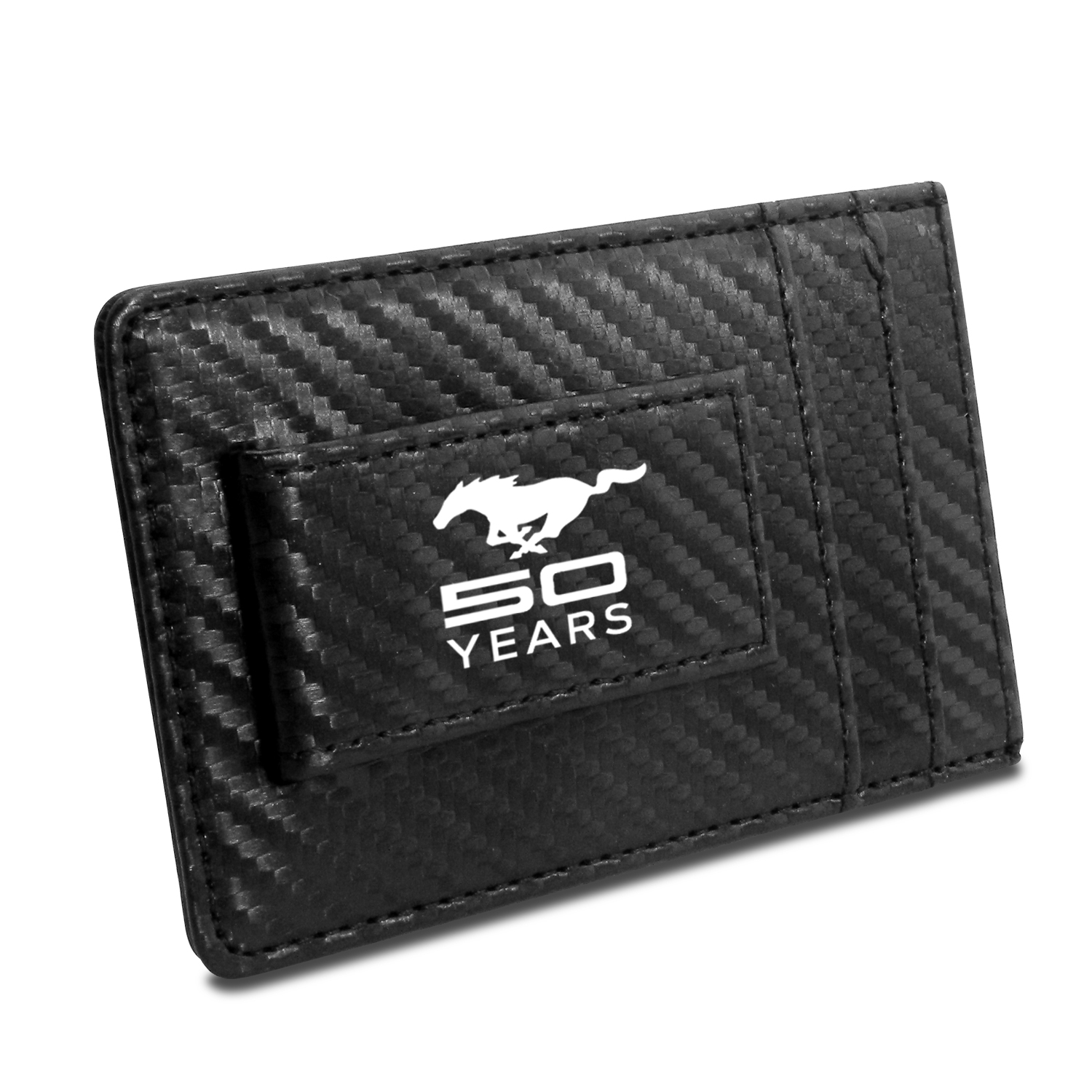 Ford Mustang 50 Years  Black Carbon Fiber RFID Card Holder Wallet