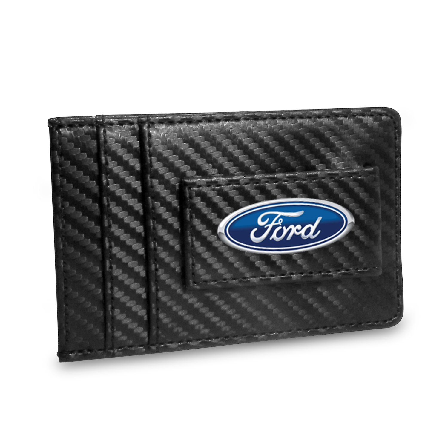 Ford Logo Black Carbon Fiber RFID Card Holder Wallet