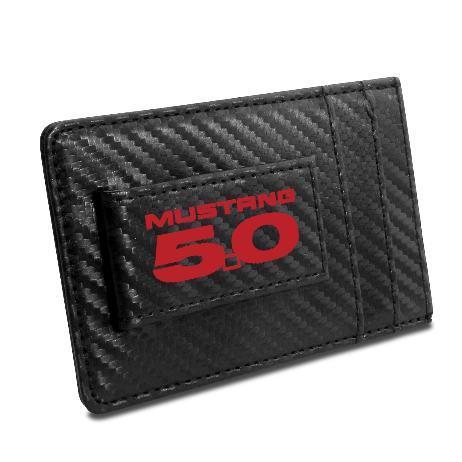 Ford Mustang 5.0 in Red Black Carbon Fiber RFID Card Holder Wallet