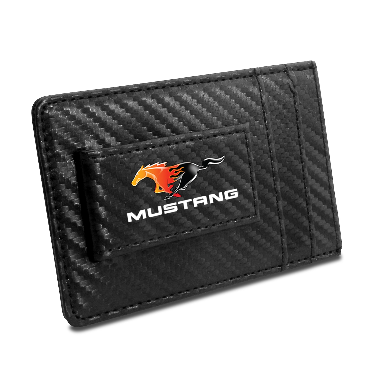 Ford Mustang Flame Pony Black Carbon Fiber RFID Card Holder Wallet