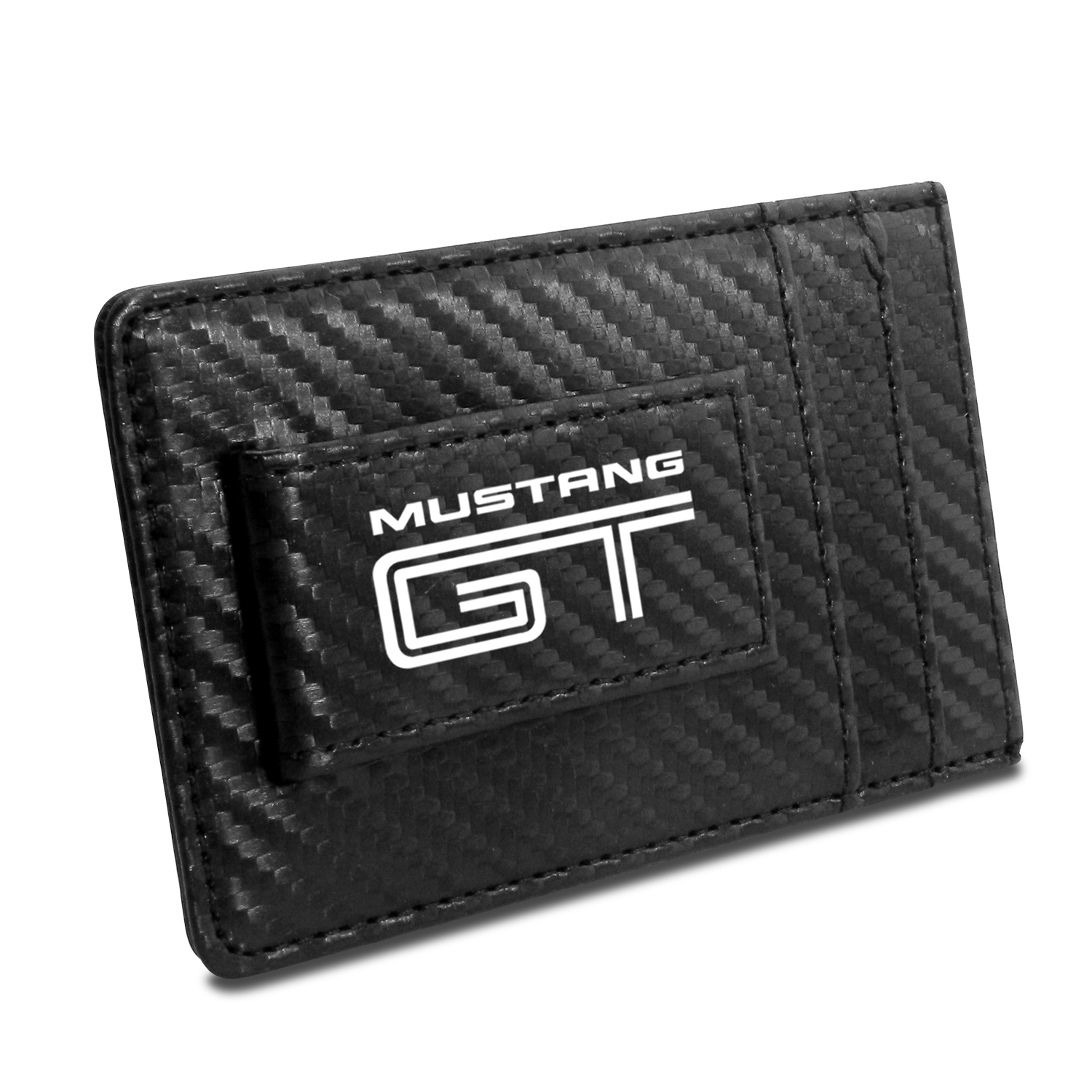 Ford Mustang GT Black Carbon Fiber RFID Card Holder Wallet