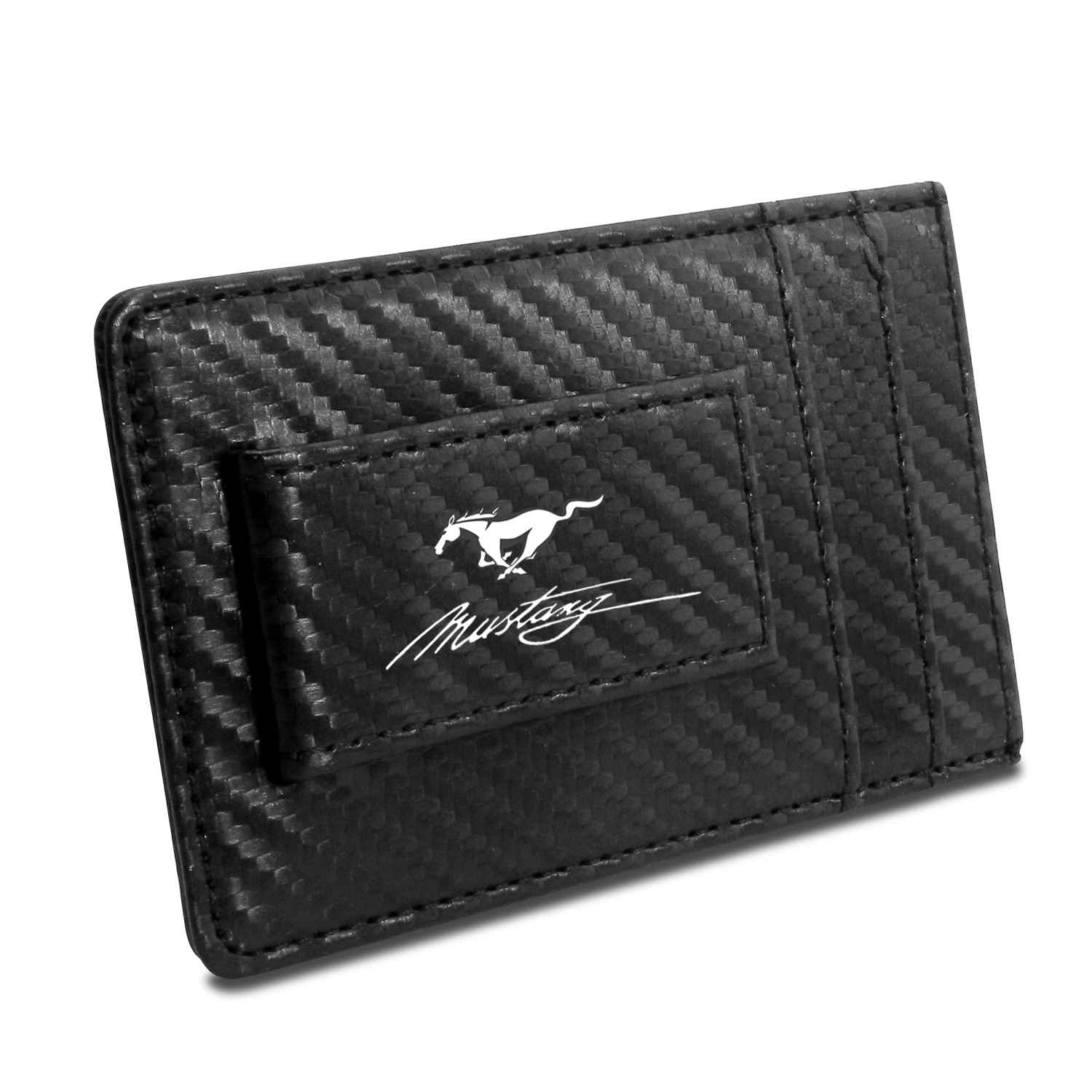 Ford Mustang Script Black Carbon Fiber RFID Card Holder Wallet