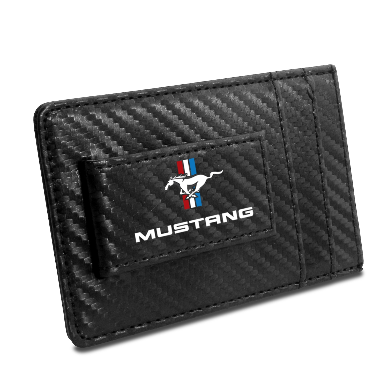 Ford Mustang Tri-Bar Logo Black Carbon Fiber RFID Card Holder Wallet