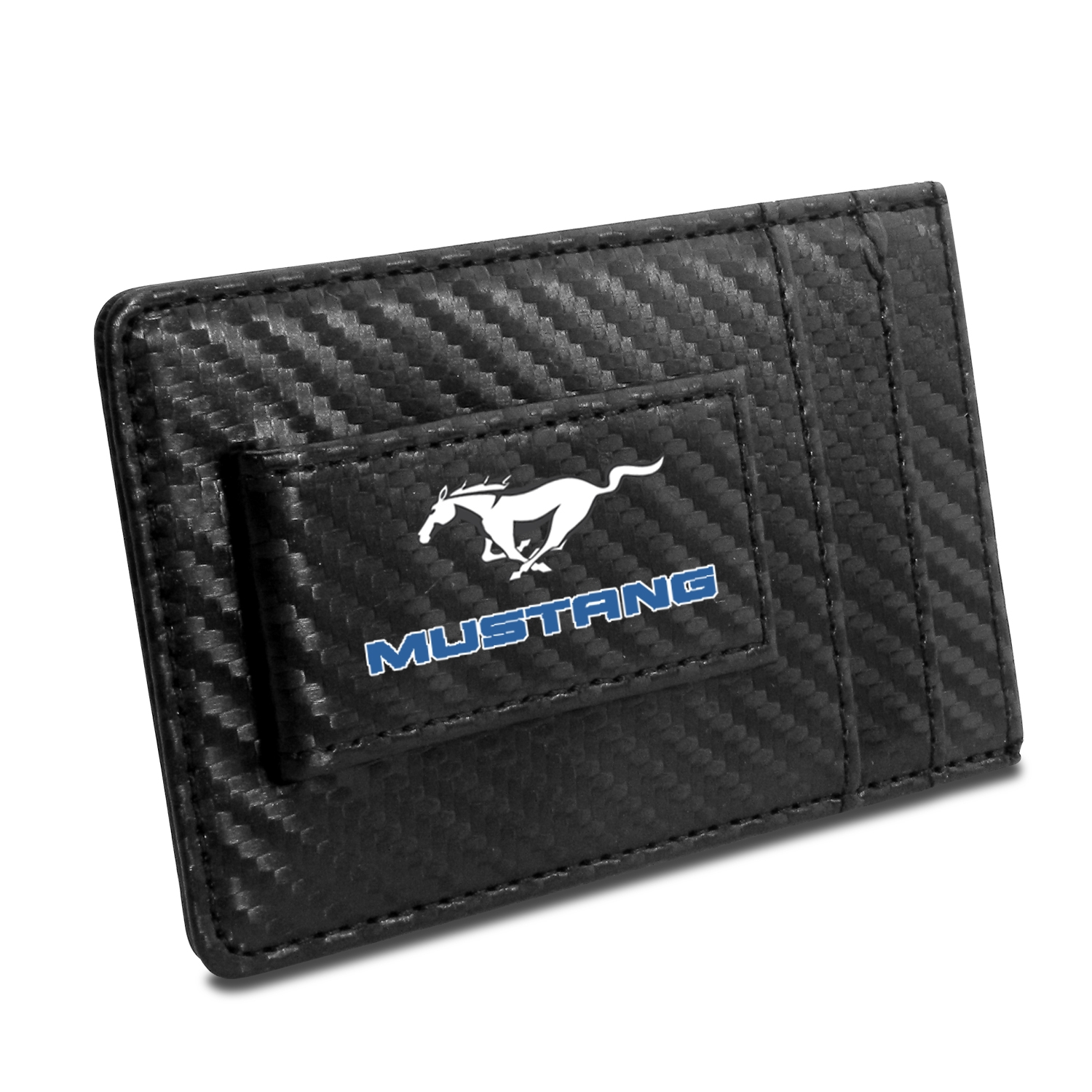 Ford Mustang in Blue Black Carbon Fiber RFID Card Holder Wallet