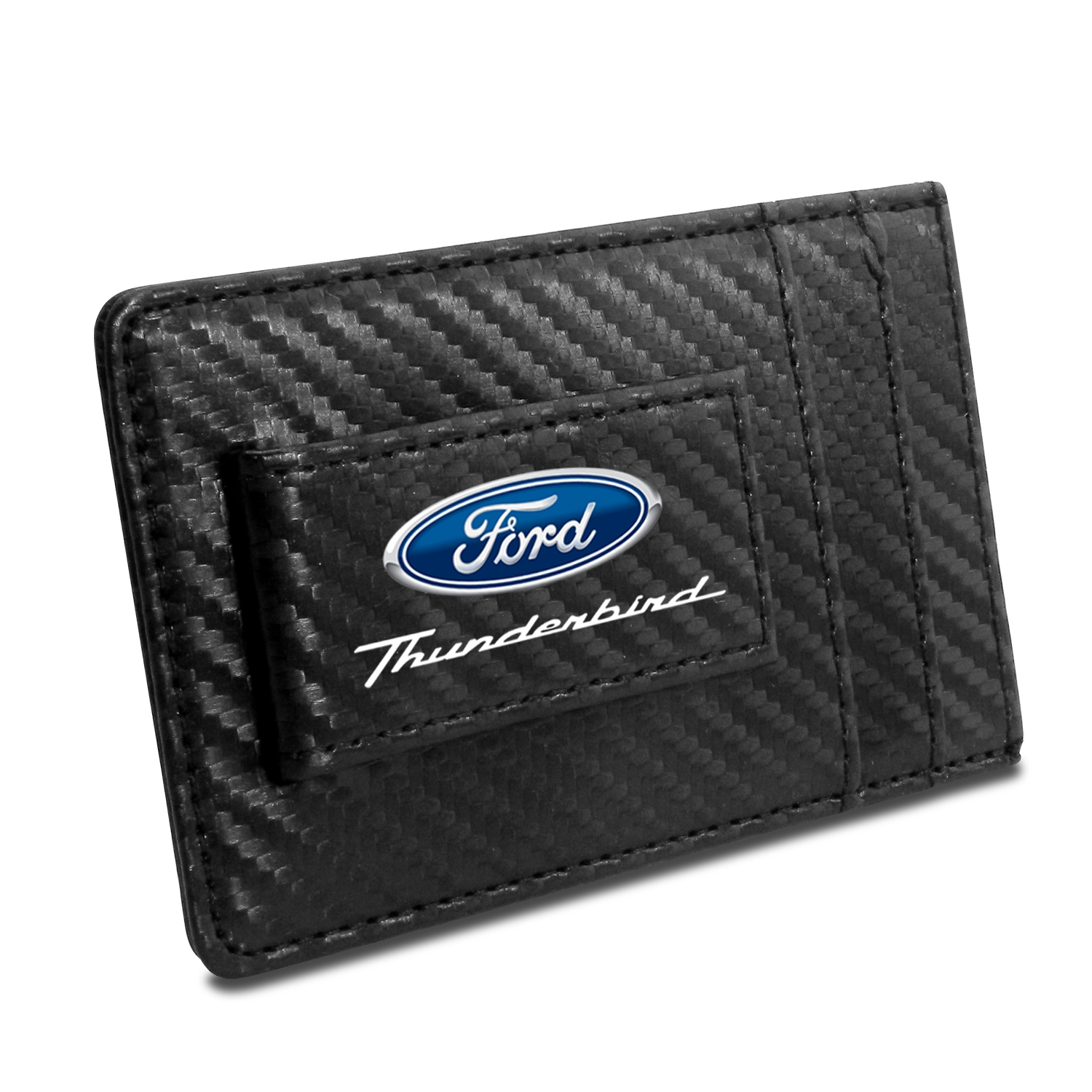 Ford Thunderbird Black Carbon Fiber RFID Card Holder Wallet