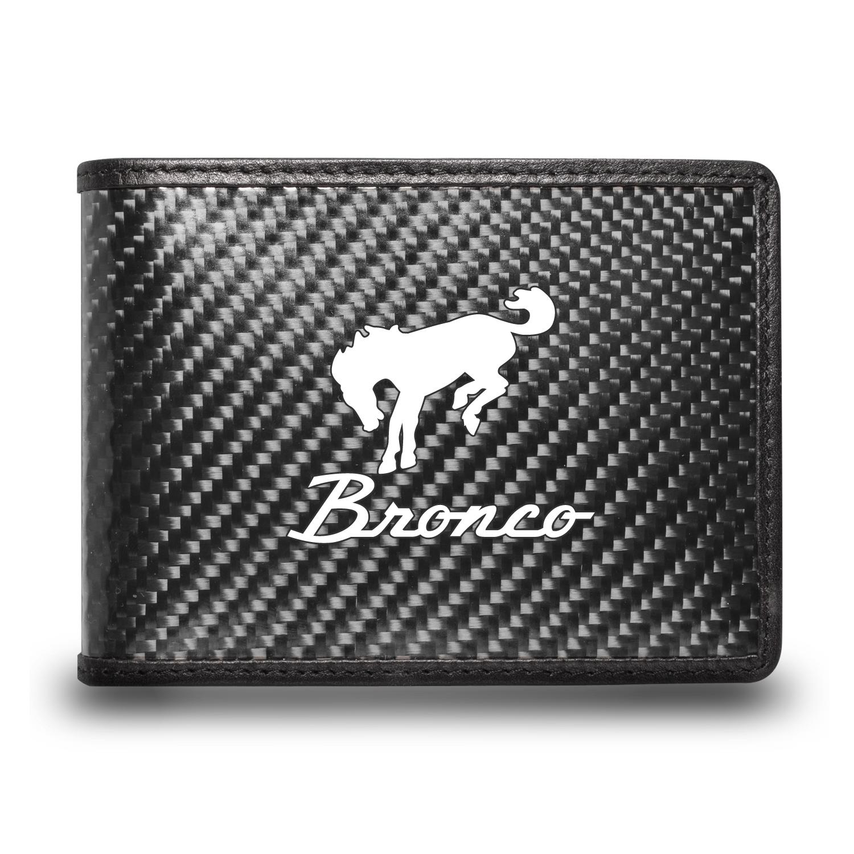 Ford Bronco Black Real Carbon Fiber Leather RFID Blocking Bi-fold Wallet