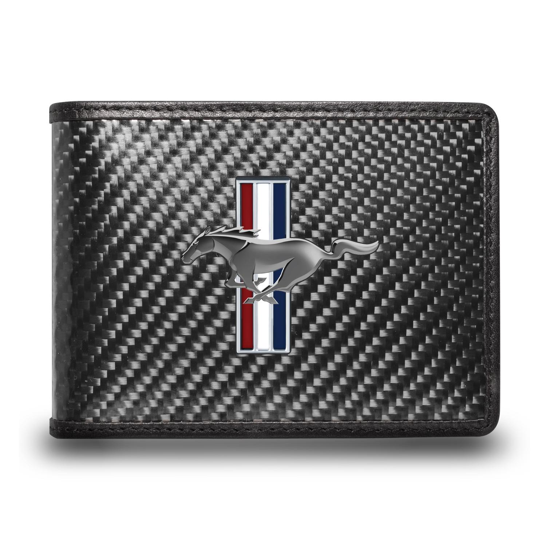 Ford Mustang Tri-Bar Logo Black Real Carbon Fiber Leather RFID Blocking Bi-fold Wallet