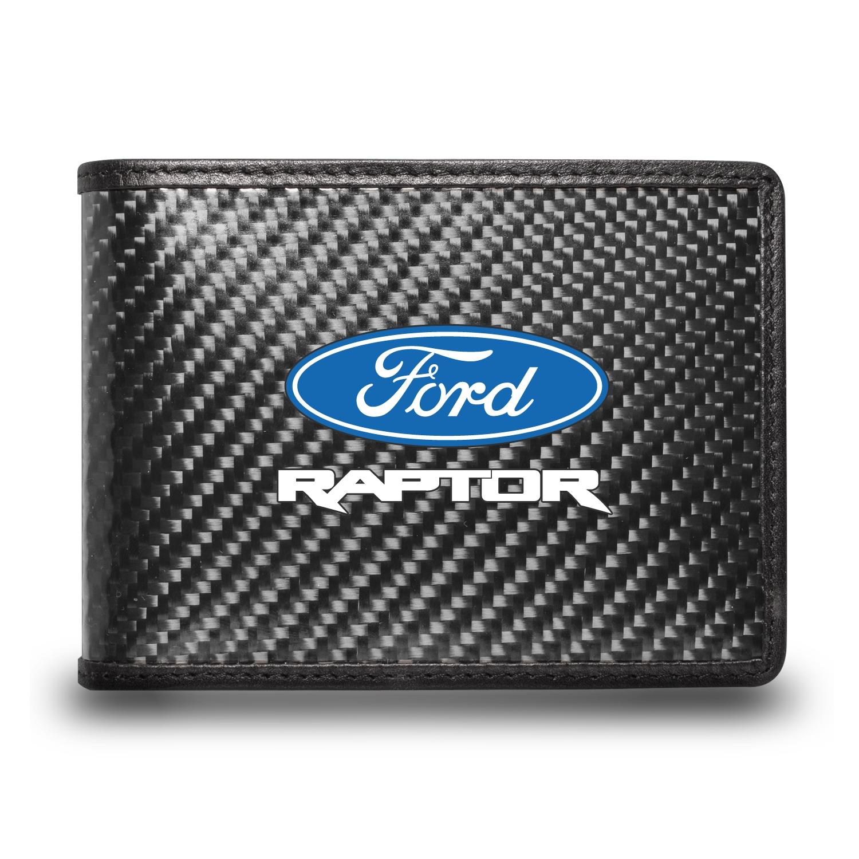 Ford F-150 Raptor Black Real Carbon Fiber Leather RFID Blocking Bi-fold Wallet