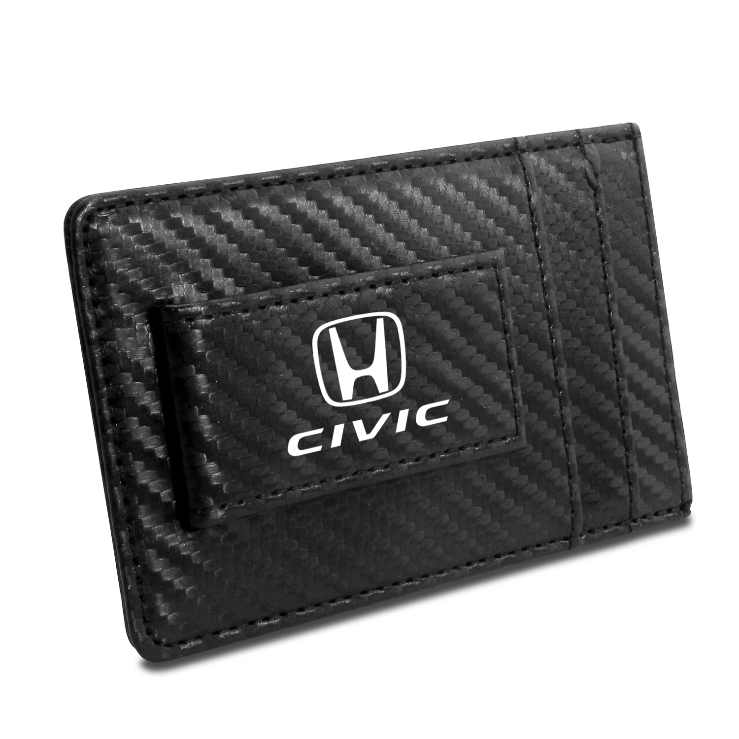 Honda Civic Black Carbon Fiber RFID Card Holder Wallet