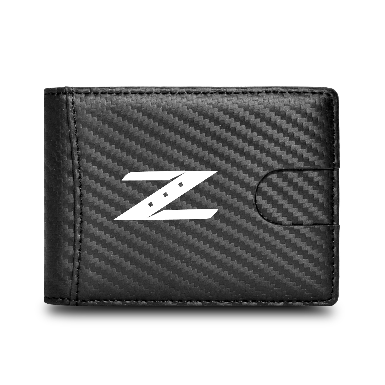 Nissan 350Z Z Logo Black Slim Real Leather Carbon Fiber Patterns RFID Blocking Bi-fold Wallet