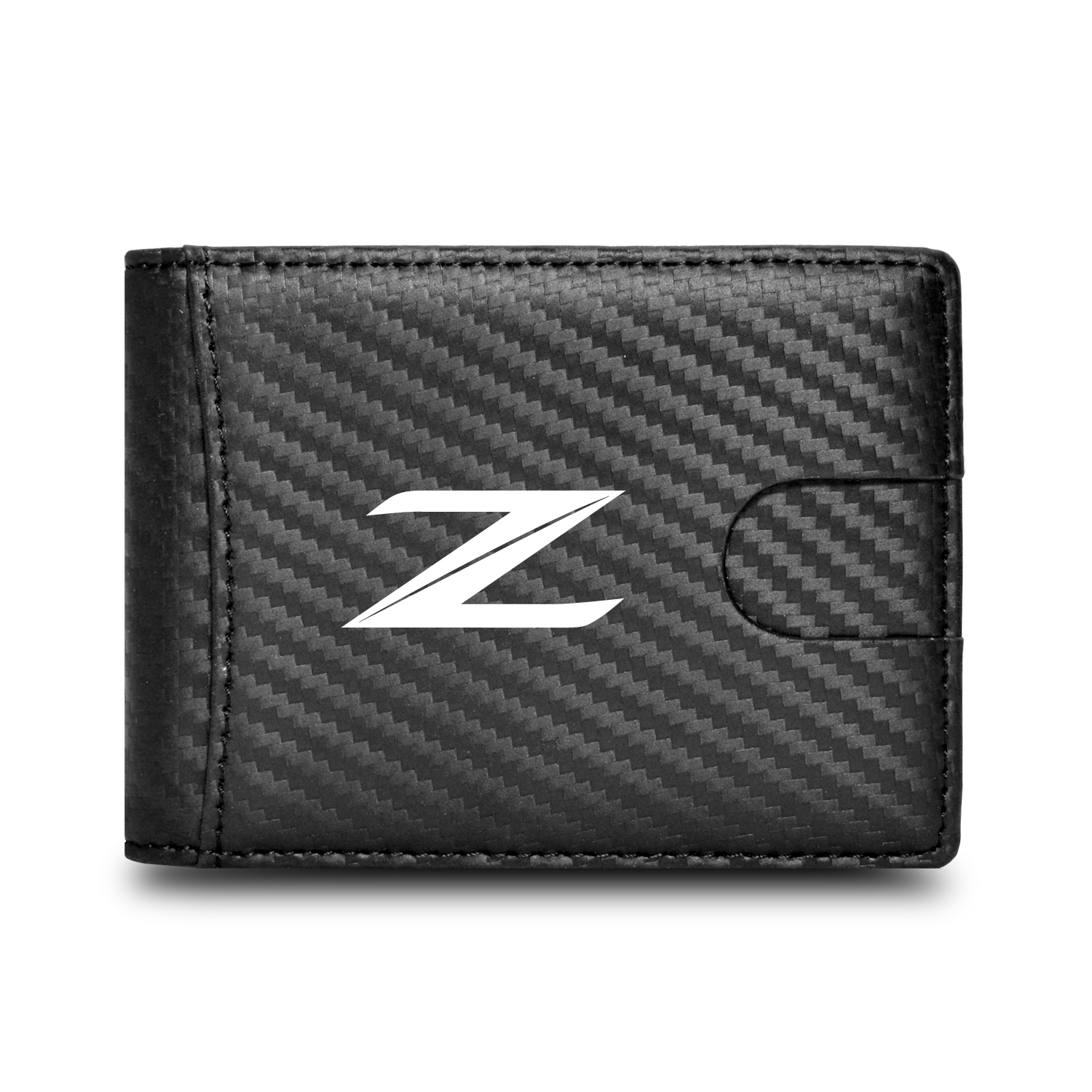 Nissan 370Z Z Logo Black Slim Real Leather Carbon Fiber Patterns RFID Blocking Bi-fold Wallet