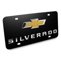 Chevrolet Silverado New Gold Bowtie 3D Logo Black Stainless Steel License Plate