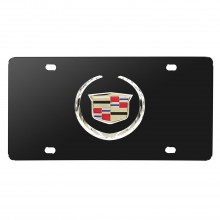 Cadillac 3D Logo Black Stainless Steel License Plate
