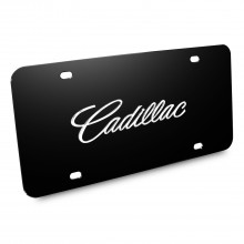 Cadillac Name 3D Logo Black Stainless Steel License Plate