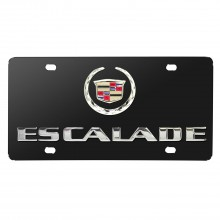 Cadillac Escalade Double 3D Logo Black Stainless Steel License Plate