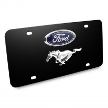 Ford Mustang Double 3D Logo Black Stainless Steel License Plate