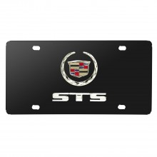 Cadillac STS Double 3D Logo Black Stainless Steel License Plate