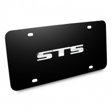 Cadillac STS Name 3D Logo Black Stainless Steel License Plate