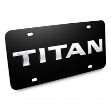 Nissan Titan Nameplate 3D Logo Black Stainless Steel License Plate
