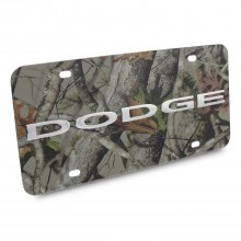 Dodge Nameplate/Trucks 3D Logo Camo Stainless Steel License Plate
