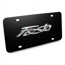 Ford Fiesta Nameplate 3D Logo Black Stainless Steel License Plate