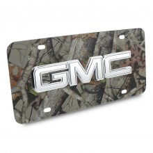 GMC Chrome 3D Logo Camo Stainless Steel License Plate