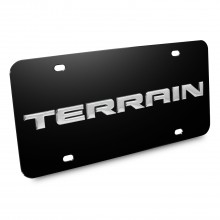 GMC Terrain Nameplate 3D Logo Black Stainless Steel License Plate