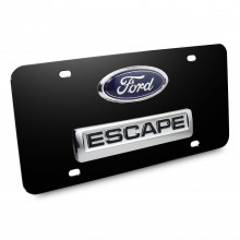 Ford Escape Double 3D Logo Black Stainless Steel License Plate