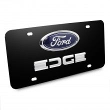 Ford Edge Double 3D Logo Black Stainless Steel License Plate