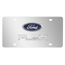 Ford Flex Double 3D Logo Chrome Stainless Steel License Plate