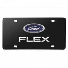 Ford Flex Double 3D Logo Black Stainless Steel License Plate