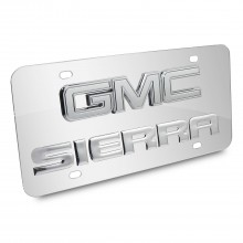 GMC Sierra Double 3d Logo Chrome Stainless Steel License Plate
