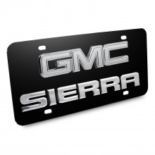 GMC Sierra Double 3d Logo Black Stainless Steel License Plate