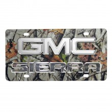 Sierra w/ Chrome Gmc 3D Logo Camo Stainless Steel License Plate
