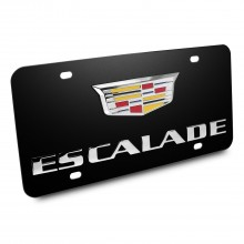 Cadillac Escalade Crest Double 3d Logo Black Stainless Steel License Plate