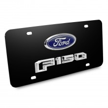 Ford F-150 2015 up Double 3D Logo Black Stainless Steel License Plate