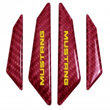 Ford Mustang in Yellow Real Red Carbon Fiber Door Edge Guard Decal