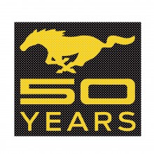 "Ford Mustang 50 Years in Yellow 12"" 3M Perforated Unobstructed View Window Graphic Decorative Decal"