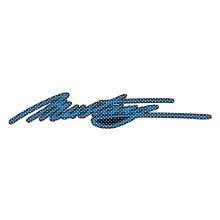 "Ford Mustang Script in Blue 12"" 3M Perforated Unobstructed View Window Graphic Decorative Decal"