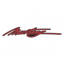 "Ford Mustang Script in Red 12"" 3M Perforated Unobstructed View Window Graphic Decorative Decal"