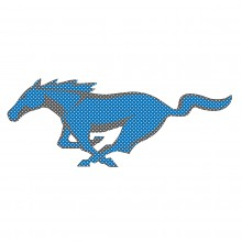 "Ford Mustang Pony in Blue 12"" 3M Perforated Unobstructed View Window Graphic Decorative Decal"