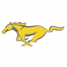 "Ford Mustang Pony in Yellow 12"" 3M Perforated Unobstructed View Window Graphic Decorative Decal"