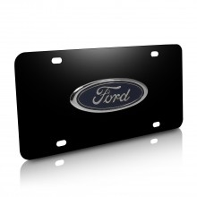 Ford 3D Logo Black Stainless Steel License Plate